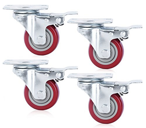 Finnhomy Casters 3'' Wheels with Brake 4 Pack Swivel Plate Casters Premium Polyurethane Wheels Lockable Anti-wear Smooth Casters Red