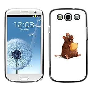 Qstar Arte & diseño plástico duro Fundas Cover Cubre Hard Case Cover para SAMSUNG Galaxy S3 III / i9300 / i747 ( Rat Rodent Hamster Art Cartoon Cheese Cute)