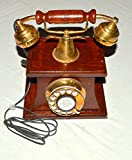 ANTIQUE STYLE BRASS AND WOOD HUT RETRO TABLE TELEPHONE DIAL ANCIENT PRIMITIVE
