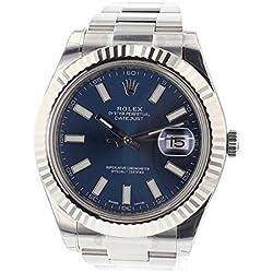 Rolex Datejust Ii 41mm Steel Blue Dial Men's Watch 116334