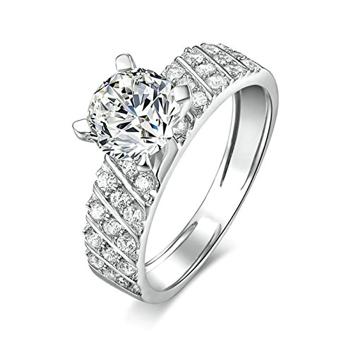 ANAZOZ Women Engagement Rings S925 Sterling Silver White Cubic Zirconia Silver Eternity Rings for Women Size 7
