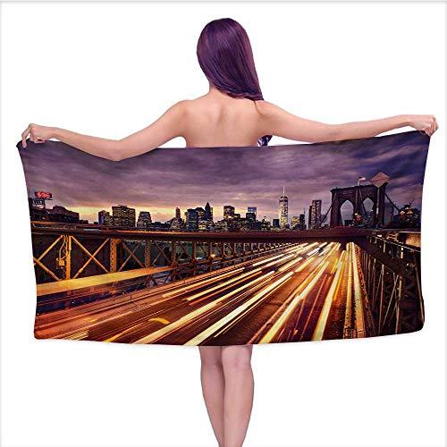 Bensonsve Soft Bath Towel City,Brooklyn Bridge at Night Car Traffic in New York United States Transport,Lilac Dark Orange Yellow,W10 xL39 for Youth Girls Cotton