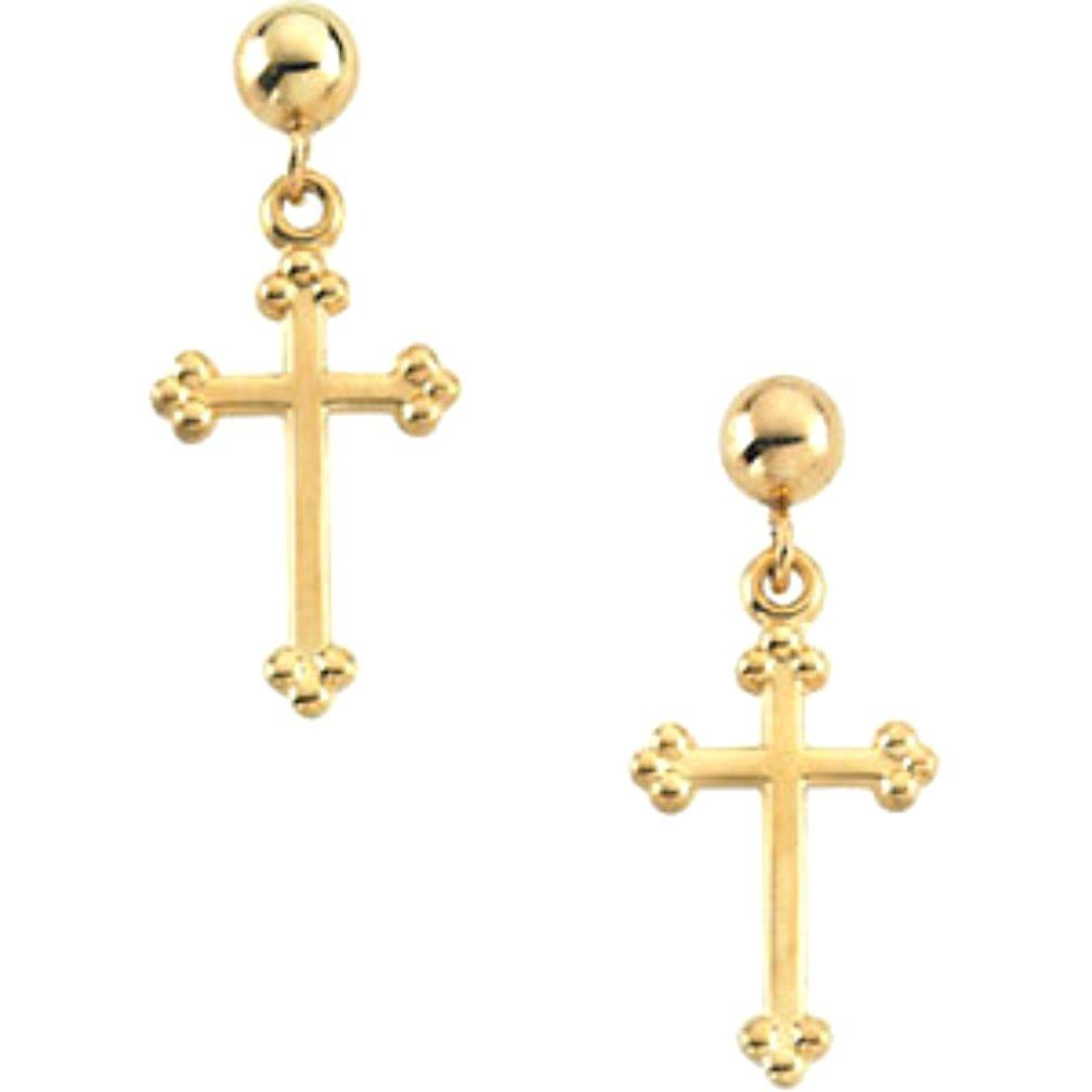 Girl's Treflee' Cross Earrings, 14k Yellow Gold (14x9MM)