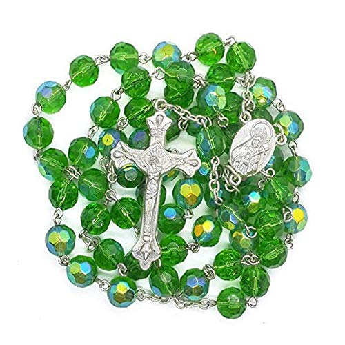 - Nazareth Store Green Crystal Beads Catholic Rosary Necklace Holy Mary Medal & Cross Crucifix, Handmade Christian Holy Rosary - Gift Bag