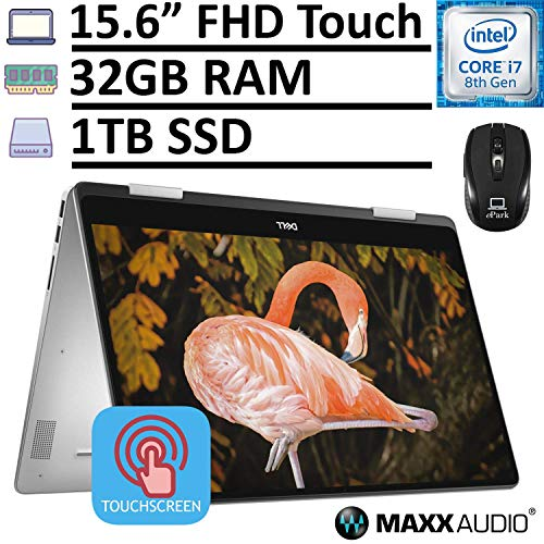 2020 Dell Inspiron 15 7000 7586 2-in-one Sleek Business Laptop, 15.6″ FHD IPS Touchscreen, Intel Core i7-8565U 32GB RAM 1TB SSD, MaxxAudio Pro Backlit KB Fingerprint Win 10 + ePark Wireless Mouse
