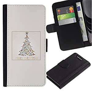 Be Good Phone Accessory // Caso del tirón Billetera de Cuero Titular de la tarjeta Carcasa Funda de Protección para Sony Xperia Z1 Compact D5503 // Tree Minimalist Winter Snow