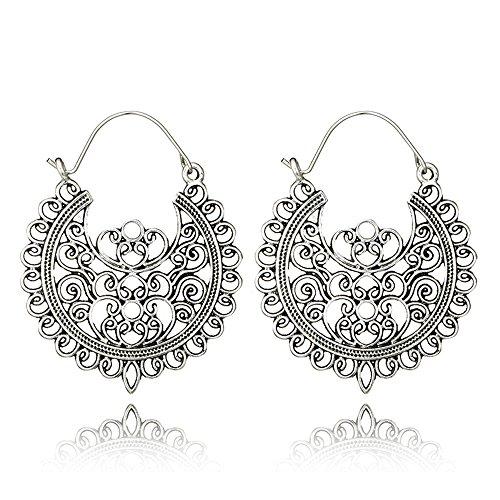 Earrings Basket Dangle (Antique Hollow Geometric Drop Dangle Earring for Women Tribal Gold Silver Pendant Hook Earrings (5674silver))