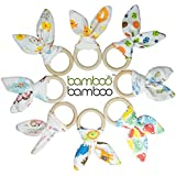 Organic Bamboo Bunny Ears Wooden Teething Rings and Sensory Baby Toy 2-Pack Soothes Sore Gums While Promoting Fine Motor Skills and Hand-Eye Coordination (Sweet and Cheeky)