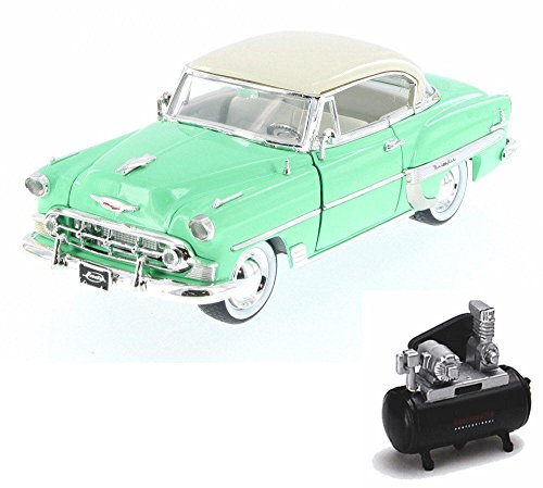 - Diecast Car & Air Compressor Package - 1953 Chevy Bel Air Hard Top w/ Baby Moon, Pastel Green - Jada 98885-MJ - 1/24 Scale Diecast Model Toy Car w/Air Compressor