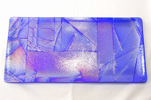 Cobalt Blue Patchwork Iridescent Fused Glass Tray by GlassAngel