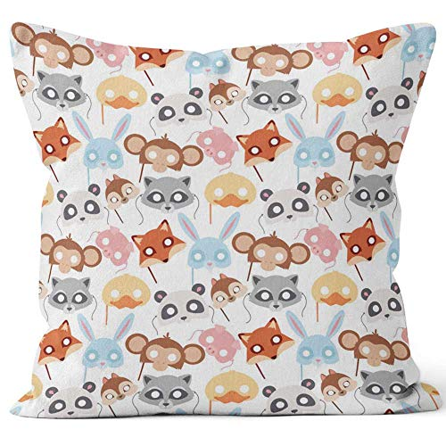 Nine City Animals Carnival mask Vector Festival Decoration Masquerade Party Costume Head Decor Celebration Seamless Pattern Throw Pillow Cushion Cover,HD Printing Decorative Square Accent Pillow -
