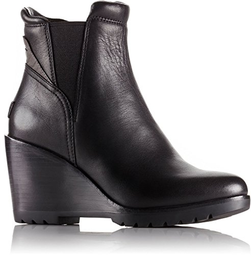 SOREL After Hours Chelsea Suede Boot - Black Leather - Womens - (Suede Leather Wedge Boots)
