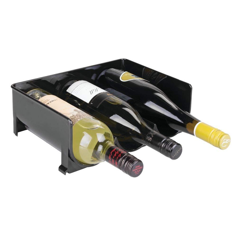 Aufbewahrungsbox aus BPA-freiem Kunststoff f/ür den K/ühlschrank praktisches Weinflaschenregal f/ür die K/üche schwarz mDesign 8er-Set Flaschenregal mit Griffen