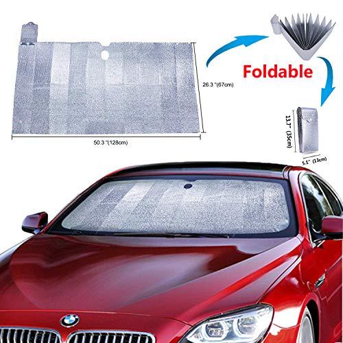 Car Windshield Sunshade Protector - Powertiger Foldable Sun Shade for Car Windshield Universal Car Window Sun Shade UV Protection Keep Vehicle Cool Front Window Sun Shade (Front Window Sunshade)