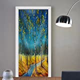 Niasjnfu Chen custom made 3d door stickers Original Oil Painting of River in a Birch Grove on Canvas. Modern Impressionism Art. Artwork. Fabric Home Decor For Room Decor 30x79