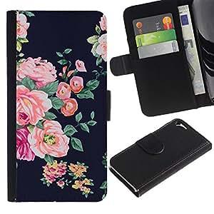 KingStore / Leather Etui en cuir / Apple Iphone 5 / 5S / Vignette rustique Floral Textile