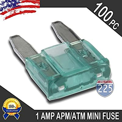 100 Pack 1AMP APM/ATM 32V Mini Blade Style Fuses 1A Short Circuit Protection Car Fuse: Home Improvement