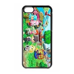 Animal Crossing NUEVA HOJA (2) caja del teléfono celular funda iPhone 5c funda negra de la cubierta, funda de plástico caja del teléfono celular