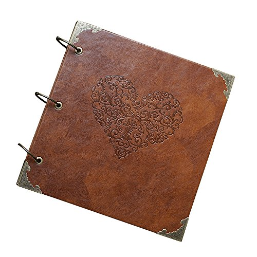 Book Photo Album Guest (GnD Heart-Shaped Leather Cover Scrapbook DIY Photo Album,Perfect as Wedding Guest Book/Anniversary Gift)
