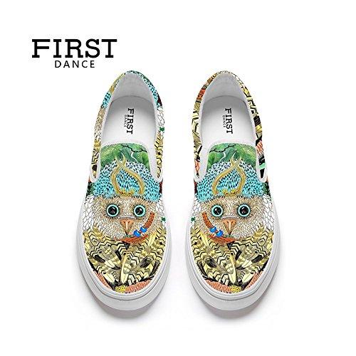 Primera Danza Funny Animal Prints Design Mujeres Casual Mocasines Planos Personalizados Moda Zapatos De Lona Animal 13