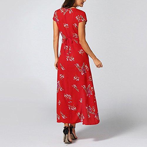 5c3edde3a81 Y Mode Imprimées Deelin Manches rouge Col Sexy Style En Robes Lady Mini  Féminine Élégantes Robe Boho D été Fleurs V Courtes dF4f4Uwq