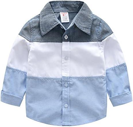 AIKSSOO Kids Baby Boys Long Sleeve Stripe Shirt Cartoon Embroidery Button-Down Shirts