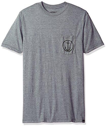 Captain Fin Co. Men's Helm Premium Pocket Tee Shirt, Heather Grey/Black Small