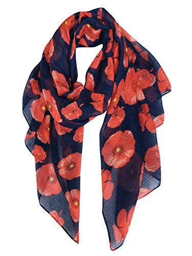 GERINLY - Lightweight Poppy Flower Print Oblong Scarf (Navy Blue) Costume National Womens Bag