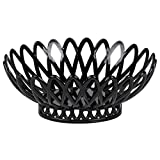 TableTop King OB-940-BK Black Oval 10'' x 8 1/4'' Plastic Fast Food Basket - 12/Pack
