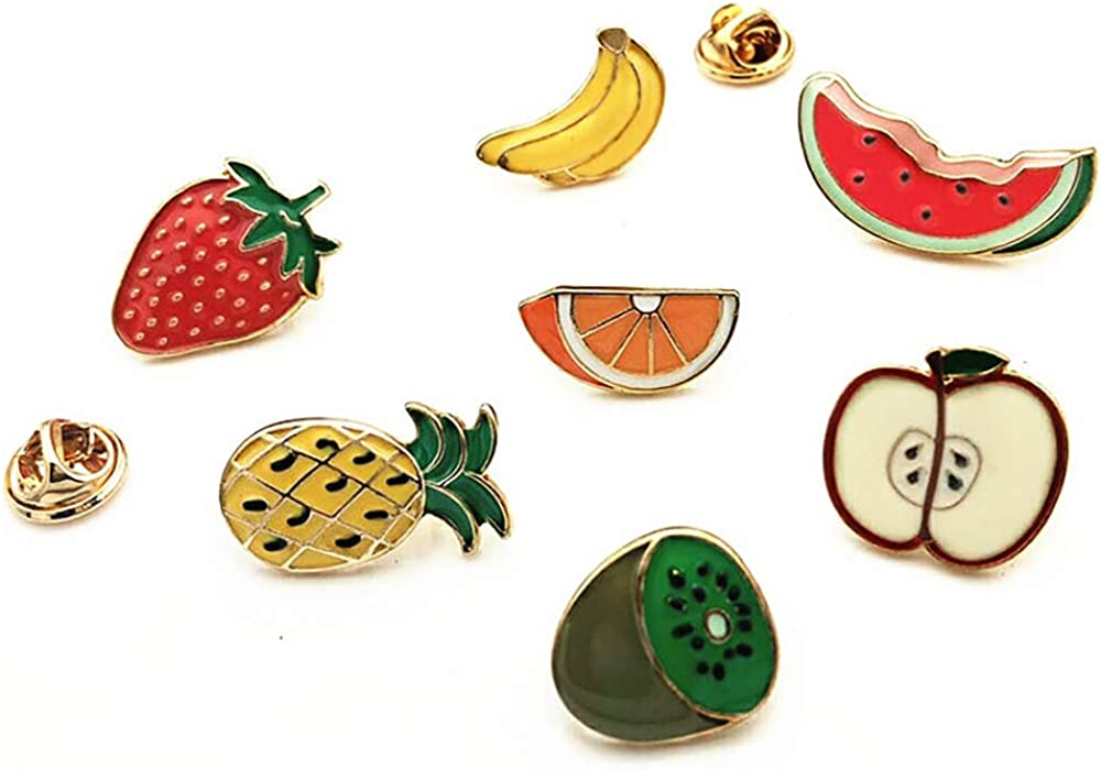 CAROMAY 7 PC Enamel Lapel Pins Set Funny Cartoon Fruit Badge Corsage Collar Brooch Strawberry Banana Orange Cute Friends Gift