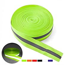 Walsilk Florescent Reflective Safety Tape,3M 4M High Visibility Warning Safety Vest Trim Strip Fabric Webbing Ribbon Sewing On to Clothes
