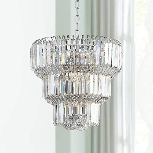 Valeria Chrome Tiered Chandelier 18″ Wide Modern Crystal 10-Light Fixture