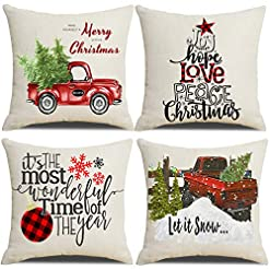 Christmas Farmhouse Home Decor Lanpn Christmas 20×20 Throw Pillow Covers, Decorative Outdoor Farmhouse Merry Christmas Xmas Pillow Shams Cases… farmhouse christmas pillow covers
