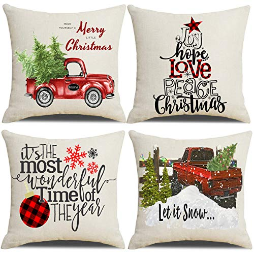 Lanpn Christmas 16x16 Throw Pillow Covers, Decorative Outdoor Farmhouse Merry Christmas Xmas Pillow Shams Cases Slipcovers Cover Set of 4 Couch Sofa