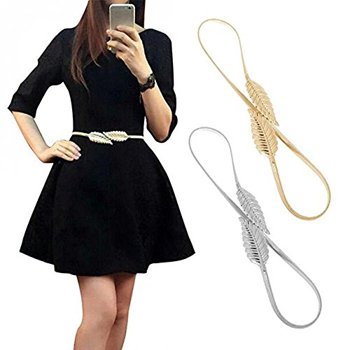 - VITORIA'S GIFT Vintage Womens Waist Belt Elastic Belt Stretch Waist Strap Cummerbund Leaf Design Clasp Stretch Waist Belt, Silver&golden Tone(plus), Medium