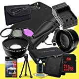 Canon EOS 70D DSLR Camera with 18-55mm STM f/3.5-5.6 Lens LP-E6 Lithium Ion Replacement Battery and External Rapid Charger + 32GB SDHC Class 10 Memory Card + 58mm 3 Piece Filter Kit + 58mm 2x Telephoto Lens + 58mm Wide Angle Lens + Mini HDMI Cable + Multi