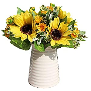 Calcifer 1 Sets (7 Stems/Set) 10.63'' Sunflowers Artificial Flowers Bouquet for Home Decoration/Wedding Decor (3) 55