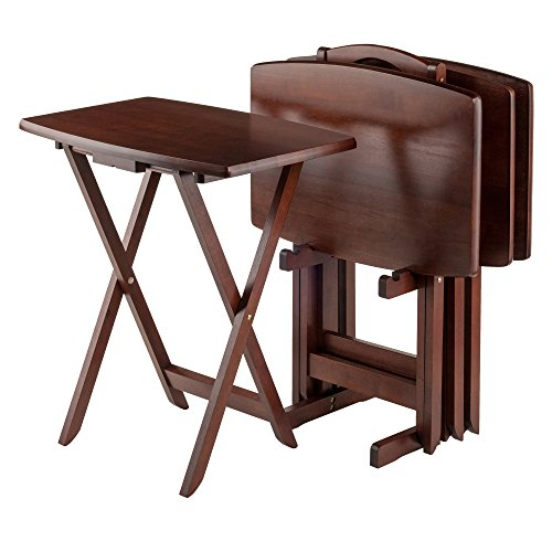 Winsome Oversize Snack Table Set, Walnut Wood Tray Tables