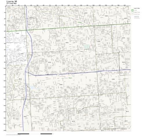 ZIP Code Wall Map of Livonia, MI ZIP Code Map Laminated (City Livonia)
