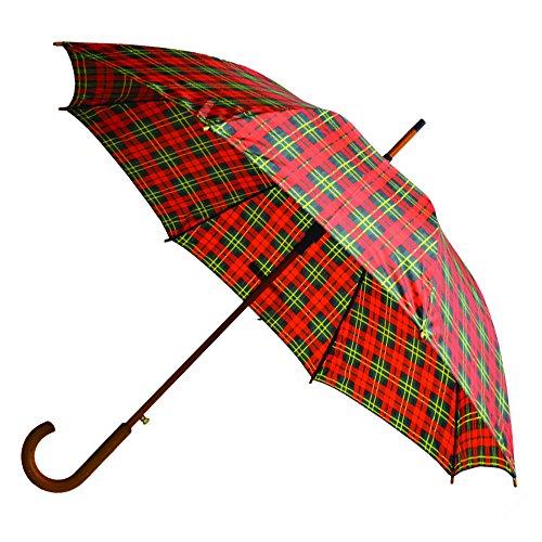 Rainbrella Classic Auto Open Umbrella with Real Wooden Hook Handle, Red/Green Plaid, 46