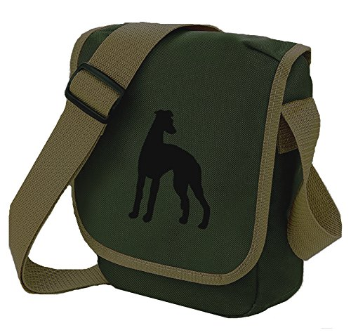 Sighthound Shoulder Reporter Black Bag Olive Lurcher Dog Whippet Choice Silhouette Greyhound Gift Colours Of gqtwX7I