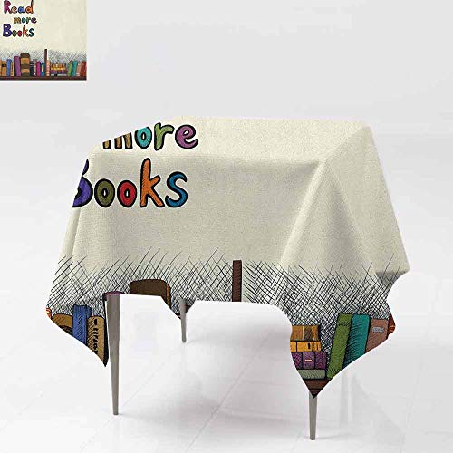 (DUCKIL Stain-Resistant Tablecloth Read More Books Quote Printed on Sketch Background with Colorful Books on a Shelf Party W60 xL60 Multicolor)