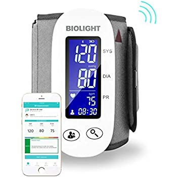 Bluetooth Blood Pressure Monitor with Upper Arm Cuff, with Large Display, Digital sphygmomanometer (Apple iOS and Android) …