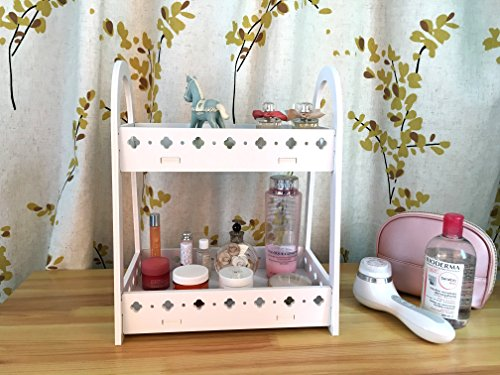 UPC 698775508113, FunCute Makeup Organizer [Waterproof] [Large Capacity] [Mufti-functions] Bathroom Organizer Countertop with 2 Tiers, Durable Eco-green PVC Material (Lucky Clover White)