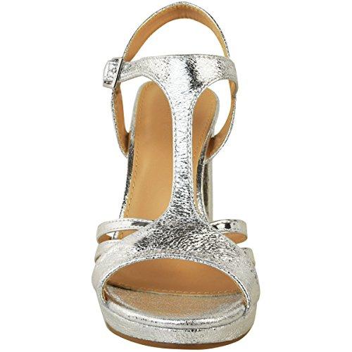 Comfort heelberry Taglia Medio Donna Fashion PIEGHE Party ARGENTO Matrimonio Tacco Thirsty METALLIZZATO Spesso Spalline con Sandali Sposa v5OOfqw