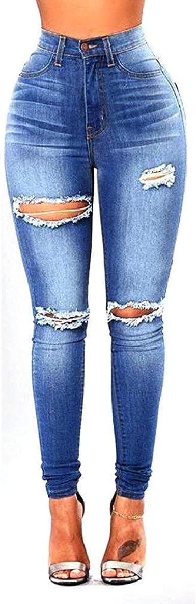 Pantalones De Mezclilla Para Mujer Pantalon De Pantalones De Corte Ropa Slim Elastico De Cintura Alta Rotos Boton Con Bolsillos Vaqueros Casuales Amazon Es Ropa Y Accesorios