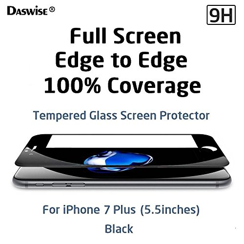 iPhone 7 Plus Screen Protector, Daswise 2016 Full Screen Anti-scratch Tempered Glass Protectors with Curved Edge, Cover Edge-to-Edge, Screens from Drops, HD Clear, Bubble-free, Shockproof (5.5 Black)