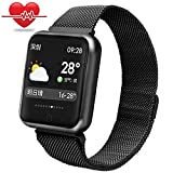 Bchance Fitness Tracker Steel Band for Women, Blood Pressure Monitor Smart Bracelet Replaceable Band with Heart Rate Monitor Sleep Monitor Pedometer Call/SMS Reminder Wristband for Android iOS -Black