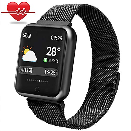 Bchance Fitness Tracker Steel Band for Women, Smart Bracelet Replaceable Band with Heart Rate Monitor Blood Pressure Sleep Monitor Pedometer Watch Call/SMS Reminder Wristband for Android iOS - Black ()