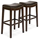Cheap Best Choice Products Set of 2 Backless Faux Leather Upholstered 31″ Counter Stools w/Brass Nailhead Trim (Brown)